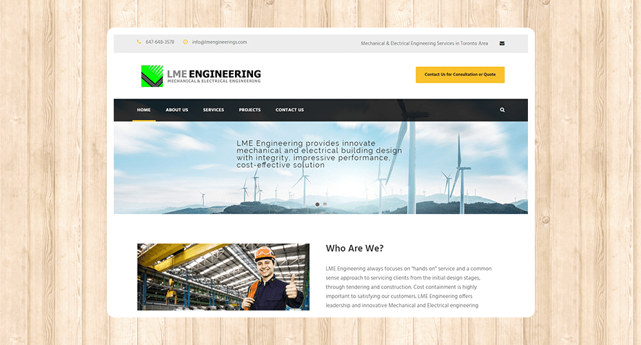 Responsive website for an engineering company