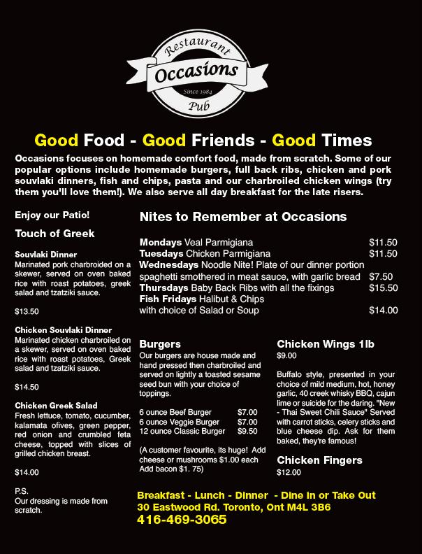 Occasions Restaurant Toronto Menu