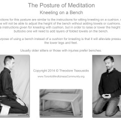 Kneeling Chair Toronto Collapsible Adirondack Plans The Posture Of Meditation On A Bench