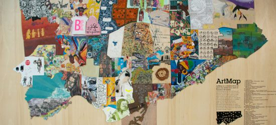 The mural was displayed in the rotunda at City Hall. Afterward, it was disassembled and the pieces given to different councillors.