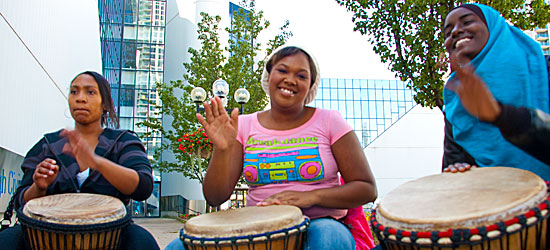 A drum circle from Tropicana Community Services.