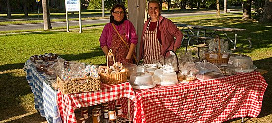 Shirley Varey (left) and Marlee Thompson sell their baked goods, in which they say the most important ingredient is love.