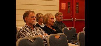 Audience members listen to Scarborough mystery writer Rosemary Aubert talk about her latest novel, The Judge of Orphans, as part of Port Union Community and Recreation Centre's 25th anniversary celebrations.