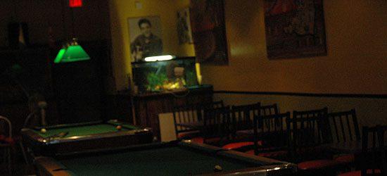 Pool tables inside of Nadi's restaurant.