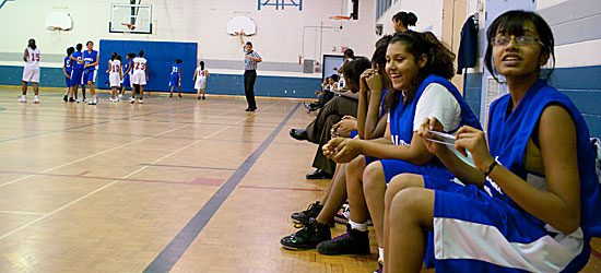 The Sir Wilfrid Laurier Blue Devils take a breather at the half.