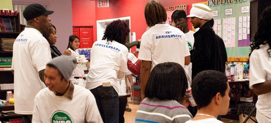 Youths from Tropicana enjoy refreshments and socialize after their performances.