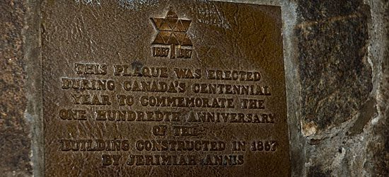 This plaque displayed on the wall in the main room authenticates the Olde Stone Cottage as a historic building.
