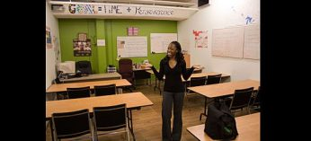 Fernelle Edmund, manager of education, in Second Base Youth Shelter's classroom.