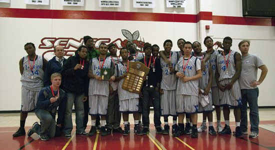 The Sir Wilfrid Laurier Blue Devils win gold in the East Region Tier One Senior Boys final at Seneca College on Feb. 11.