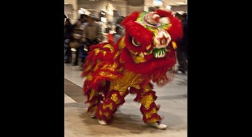 Red Chinese dragon in the parade