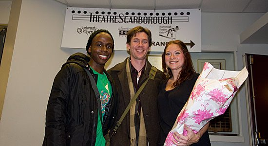 Producer and actor Mike Scott with two of the other actors from the play