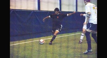 Victoria Park's #17 takes a shot on goal.