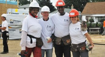 Volunteers help build 29 townhouses at 4572 Kingston Rd. on Sept. 24. The Habitat for Humanity Toronto ReTooling Blitz Build attracted more than 900 people from Sept. 20 to 25.