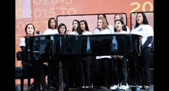 Recording artist Chantal Kreviazuk and students from the Regent Park School of Music lend their voices at the unveiling of the 2015 Pan Am Games logo outside the Air Canada Centre on Sept. 29.