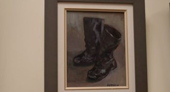 """""""Old Winter Boots"""" is an acrylic painting. Hirtescu said she would look at the boots every day thinking they were ugly as sin, but she was fond of them because they took her through some of her best winter years. She eventually got rid of them."""
