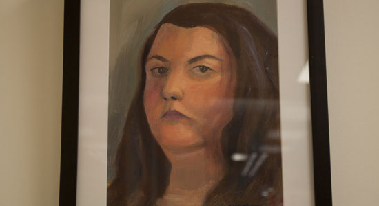 This piece is a self portrait. Hirtescu stresses she is not usually this stern but came across as such because she had to look into a mirror and concentrate hard, and frown.