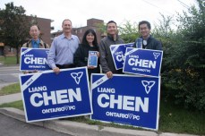Liang Chen (centre) leads her canvassing team in an afternoon trip where they knock on voters' houses from door-to-door. (Paul Yu, volunteer (far left); Louis Florence, Chen's husband and University of Toronto Lecturer (second from left); Harry Tsai, President of the Taiwanese Canadian Association of Toronto (second from right); Po-Yang Lin, Campaign Event Coordinator (far right) )