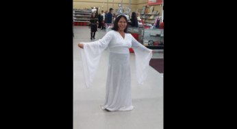 A Value Village employee dresses as an Angel ahead of Halloween. 'We offer something unique that you can't get anywhere else, and that's the mix between the new and the used,' store manager Jason Boyle says.