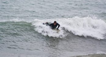 During the winter, though they keep warm with their wet suits, surfers say that sometimes ice chunks will form on their heads and shoulders.