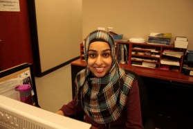 Farrah Chanda Aslam works at the reception desk in the Academic Advising & Career Centre at UTSC.