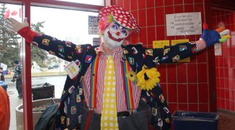 Chuckles the clown poses for a picture at Port Unions Recreation Centre's Winterfest.