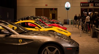 As with auto shows past, the Ferrari and Maserati exhibit attracts many visitors. This year's booth includes the Ferrari California, FF and 458 Italia, as well as the Maserati GranTurismo and Quattroporte.
