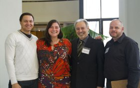 Derek Woodruff (left), Konstantina Pantoulias (middle left), Chris Christodoulou (middle right), Oscar Chimenti (right) show their happiness for the job fair they organized.