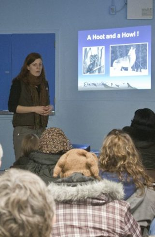 Erin Bullis' presentation included a slideshow presentation followed by interactive demonstrations on how the owl's senses operate.