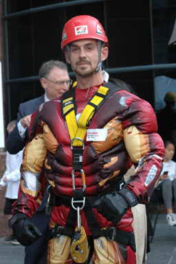 A participant in an Iron Man costume
