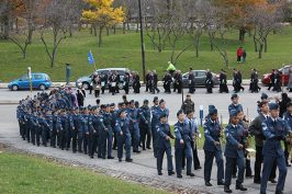 Cadets march into Scarborough Civic Centre at Remembrance Day event.