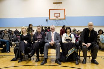 From Left: NDP MP's Matthew Kellway, Olivia Chow, NDP MPP Michael Prue and City Councillor Janet Davis.