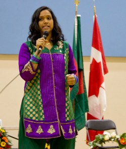 NDP MP Rathika Sitsabaiesan speaks at the event.