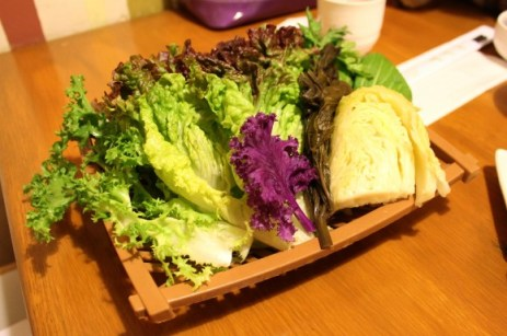A variety of leafy vegetables, the main part of the ssam-bap set