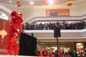 Shoppers from both floors of Scarborough Town Centre watched the lion dance.