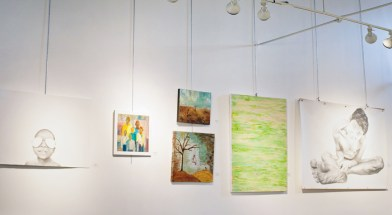 Some of the works exhibited at Paper Mills gallery.