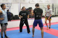 Master Lou directs footwork practice at Team UMAC MMA & Fitness, which he started in 1990.