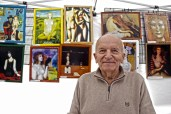 Leszek Nieznanski, 83, has been selling reprinted Polish paintings at the festival since its inception.