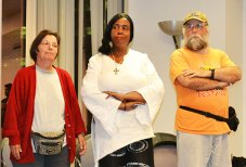 Cast members of And Here We Dwell from left, From left; Carol Rouillard, 58, Wendy Fanfair, 46, and Paul Rouillard, 54.