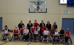 Wheelchair basketball athletes pose with special guests at the launch of the Wheelchair Basketball Canada Academy on October 1.