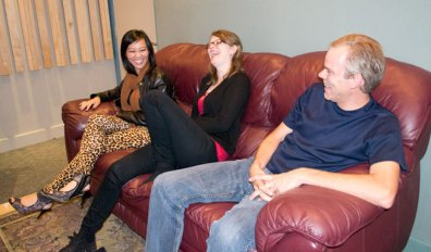 Jen Fabico (left) with Amanda Rabey and Mike Smith laughing in the recording studio at Phase One.