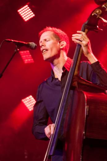 Bassist Jim Creeggan brings out the electric double bass.