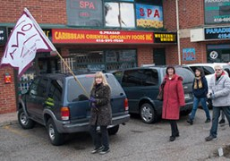 Members of the Ontario Nurses Association lend their voices to the Scarborough Health Coalition's Nov. 9 Day of Action.