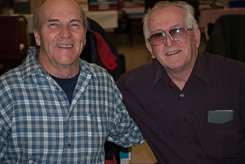 Coin collectors Vern Conklin (L) and Brian Lawrence (R) at the Scarborough Coin Show