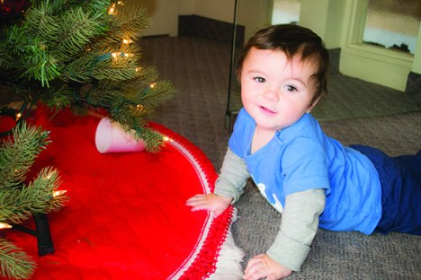 Nine month old Riley Green, attended his first Christmas Bazaar at St. Matthew's Lutheran Church.
