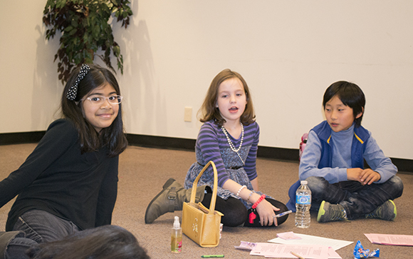Annuk Senaratne,7, Hannah Powell, 8, and Edward Jung, 9, have all been learning Shakespeare classics at the Highland Creek library.