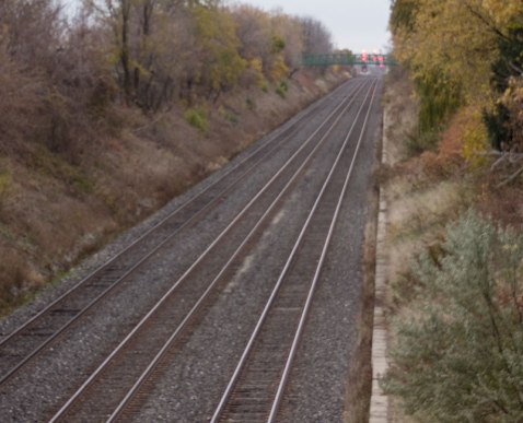 Railway line at the north end of the property.