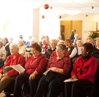 With front row seats, Cedarbrook Lodge residents join in the performance.