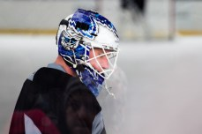 Close up of James Reimer and his signature Autobots mask.