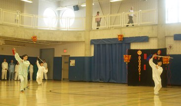 A Tai-Chi demonstration continues.