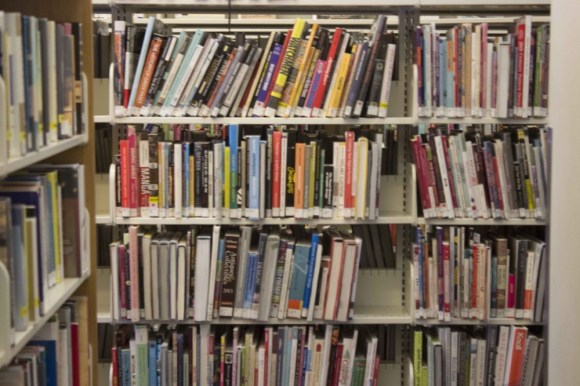 Upstairs aisle at Pape and Danforth Public Library.